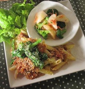 炊飯器で作る和風ミートソースと菜の花のペンネ