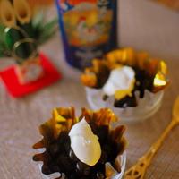 黒豆の塩メープルデザート♪干支デザインのプレミアムモルツでおもてなし