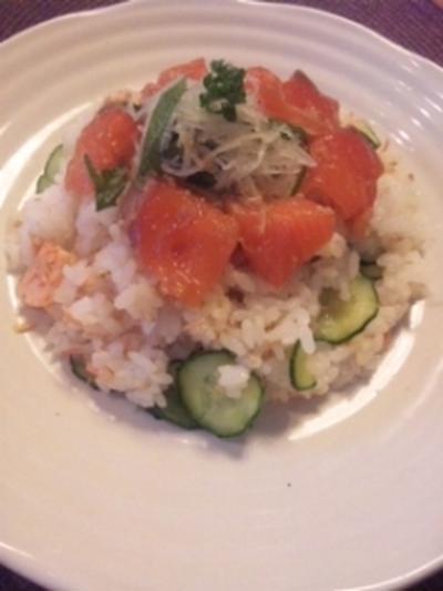 サーモンサラダ散らし寿司&蕪とほうれん草と枝豆の塩麹和え
