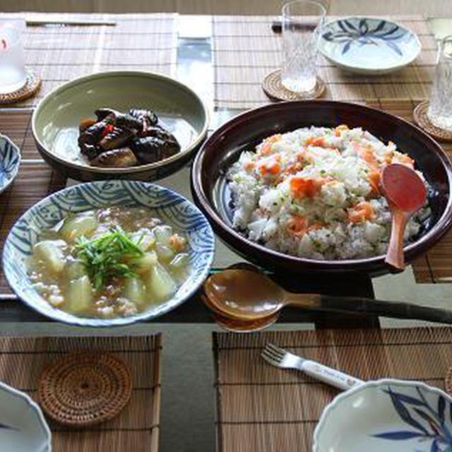 レシピ付き和風献立 サーモンと大根の混ぜ寿司・とうがんのそぼろあんかけ・なすのみそ煮