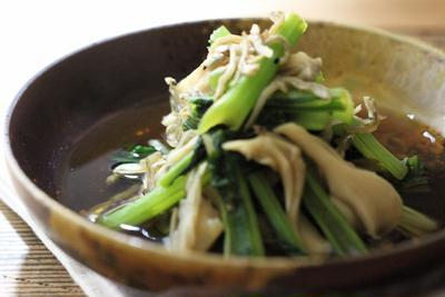 ちりめんじゃこ(かえり)と小松菜と舞茸の煮浸し