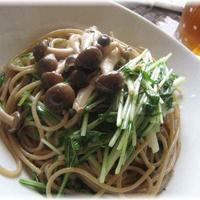 茨城産水菜を使って☆ ♪アンチョビときのこと水菜のあっさりスパゲティー♪