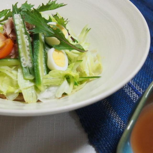 梅ダレぶっかけサラダ素麺  冬瓜の海老そぼろ煮  パプリカとソーセージの炒めもの  塩サンマ