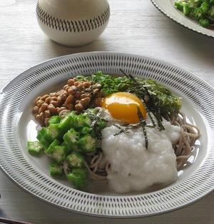 4種ねばねば食材の冷やし蕎麦