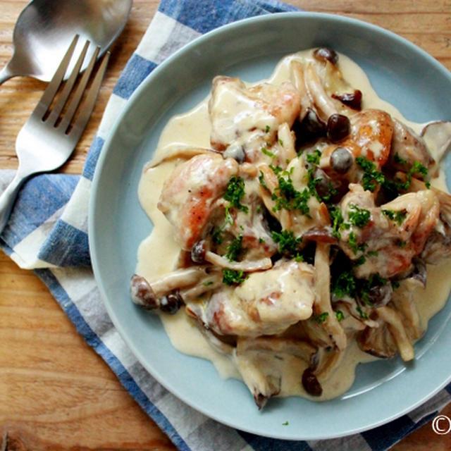 これからおすすめ!たっぷりきのこと鶏肉のクリーム煮。