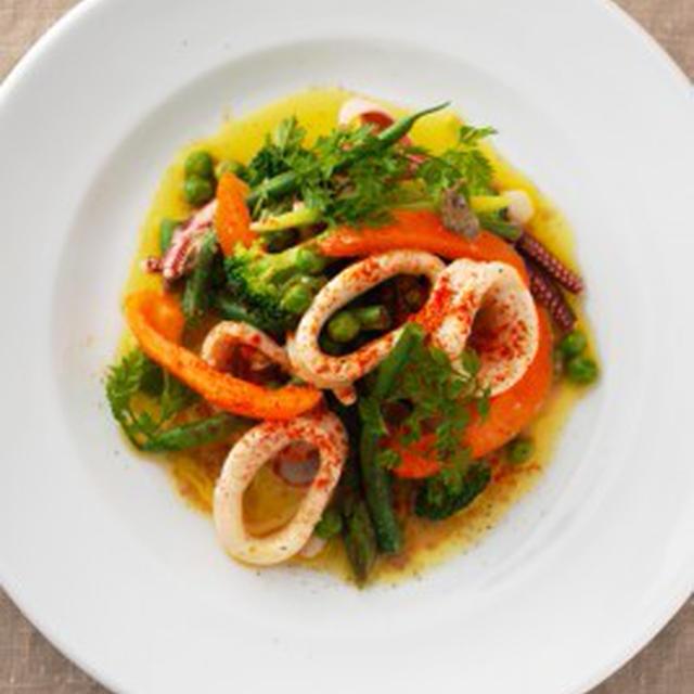 イカと初夏野菜のサラダSALADE D'ENCORNET,LEGUMES AU DEBUT DE L'ETE