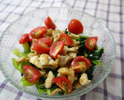 鶏皮と小松菜のサラダ風