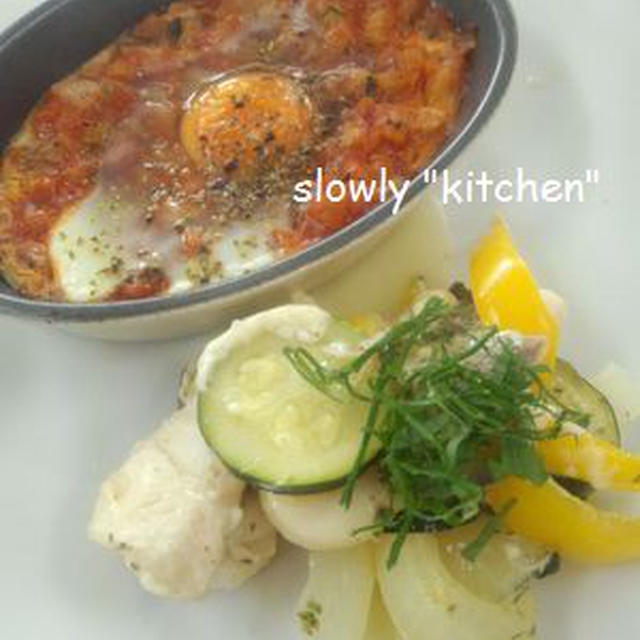 魚介と夏野菜のハーブ蒸し +ラタトゥユココット♪