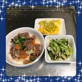 【献立15】豆腐そぼろあんかけ・白菜ときゅうりの昆布漬け・ネギ入りスクランブルエッグ
