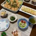 さっぱりいなり寿司とだし巻き卵と小鉢いろいろの夕食