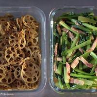 常備菜☆レンコンのきんぴら/小松菜とベーコンの炒め物とメイソンジャーサラダ