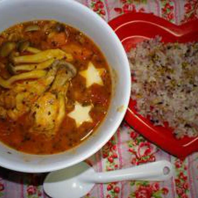 ★ほろほろチキンとムング豆のスープカレー★:-)♪