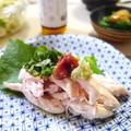 煎り酒でさっぱり、しっとり。鶏ささみの酒蒸し、季節の薬味添え by quericoさん