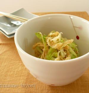 乾き物で副菜1品!さきいかとキャベツのごま酢もみ