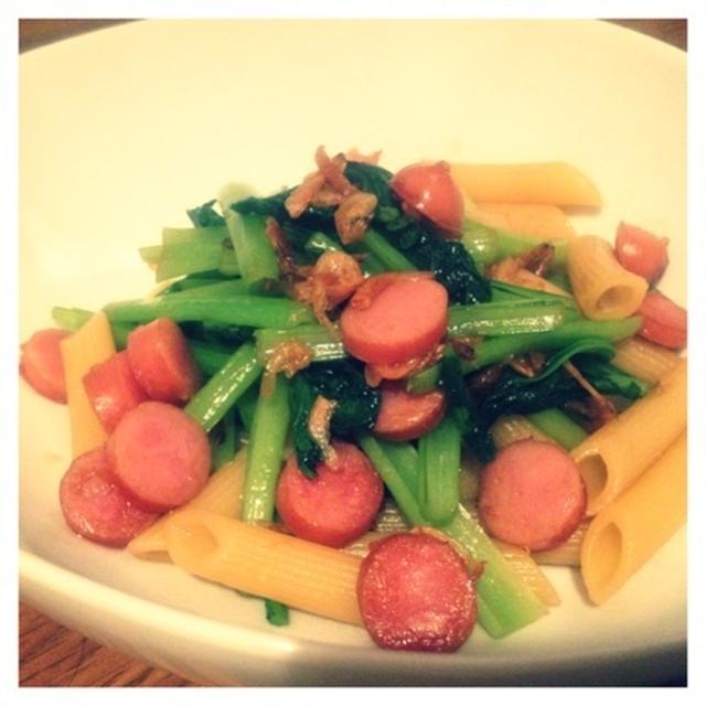 【レシピ】小松菜と桜えびの和風ペンネ