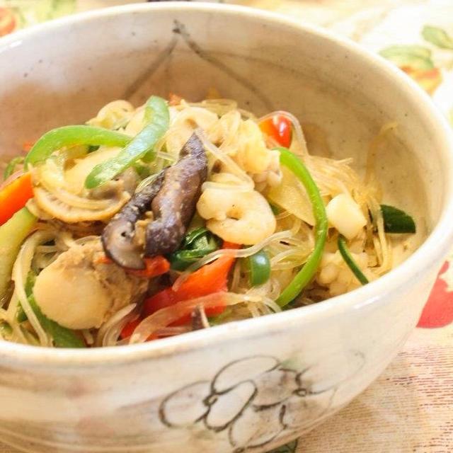 野菜たっぷり海鮮チャプチェ