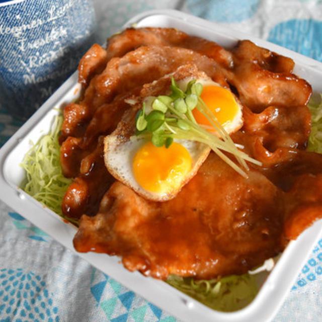 嬬恋高原キャベツたっぷり食べて♪ソース豚丼【ぐんまクッキングアンバサダー】ソースカツではなく焼いたお肉なので忙しい朝でも簡単、お弁当にぴったり。