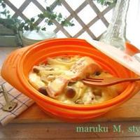 レンジで秋鮭とトロ~リチーズの蒸しご飯&雑炊!