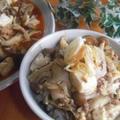 きのこマーボーのピリ辛丼&油麩とひき肉の卵丼。。♪ by toshieさん