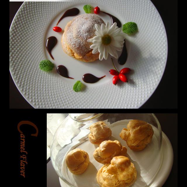 キャラメルシューとタルトタタン風ケーキ