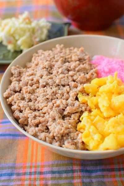 冷凍した豆腐入り!豆腐三色丼のレシピ