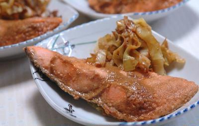 鮭のホイル焼きピーナッツ味噌味