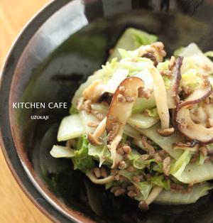 白菜とひき肉の味噌炒め