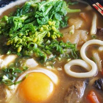 ■昼麺【菜の花と卵入りのカレーうどん】リメイク料理で10分です^^。