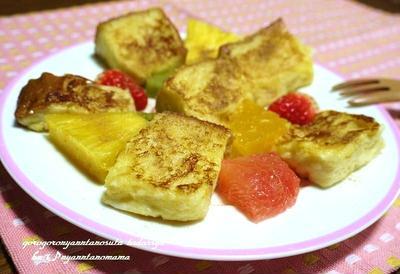 <コロコロフレンチトーストとフルーツのシナモンシュガー>