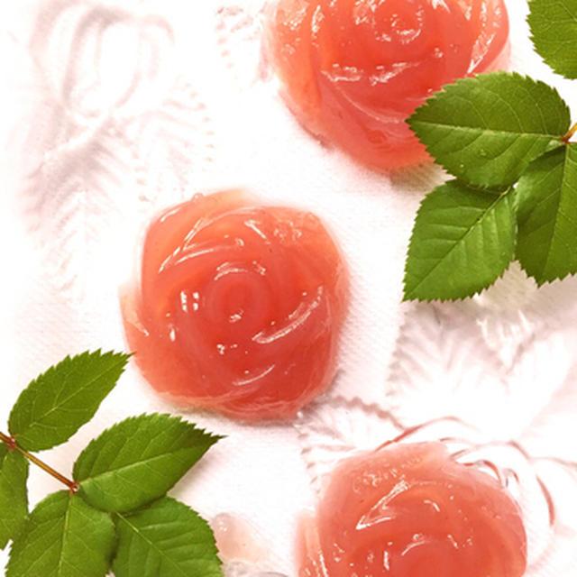 ボンヌママンのラズベリージャムで薔薇の寒天