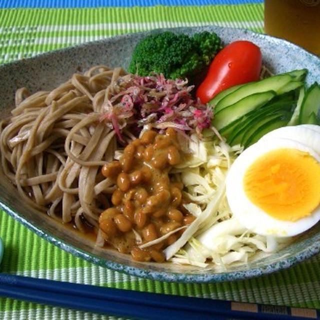 納豆入りサラダ蕎麦(ダイエット蕎麦)