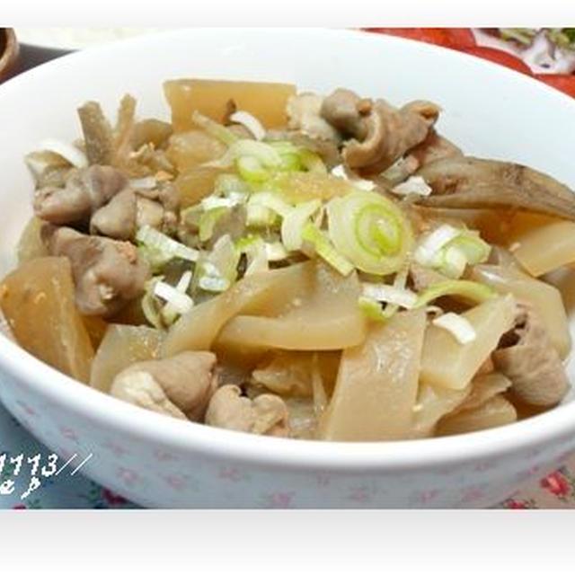 煮込みモツ☆蛸サラダ☆野菜の味噌汁♪