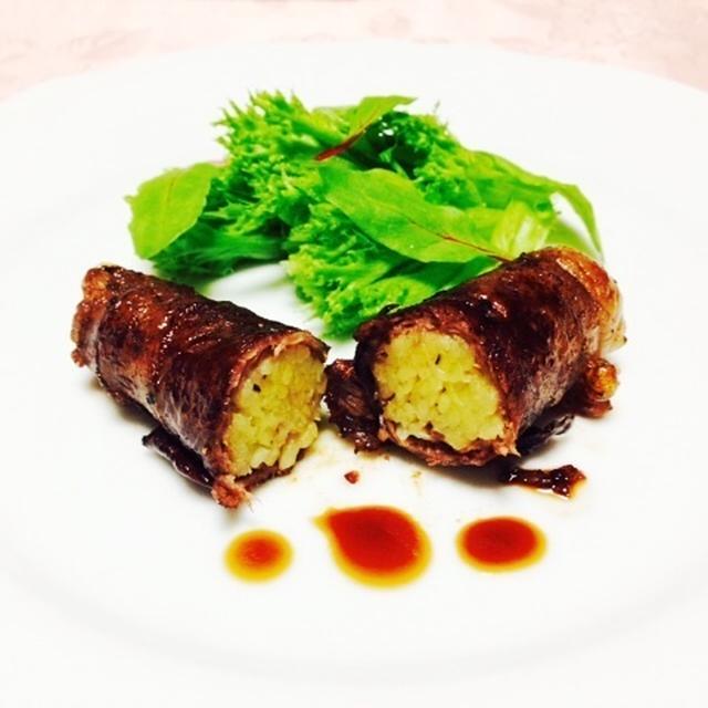 牛肉のポテト巻きバルサミコ風味