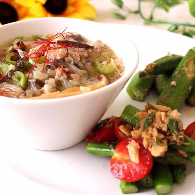 春雨でヘルシーに!ピリ辛胡麻味噌担々麺&アスパラトマトの大葉ツナ和え