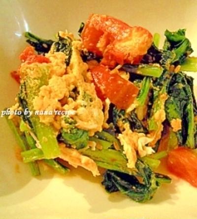 トマトと小松菜と卵の中華炒め