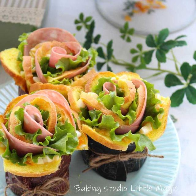 最近ハマってるくるくるお花サンドイッチ♡