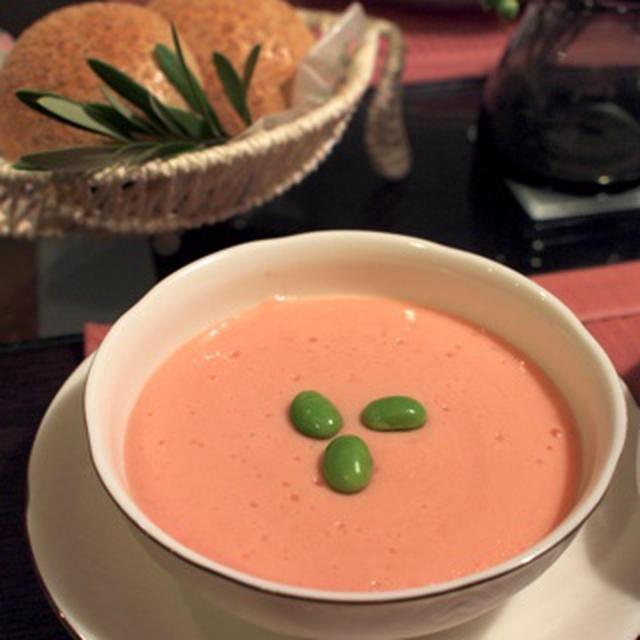 豚肉のチーズ巻きトマト煮&じゃがいもとトマトの冷製スープ