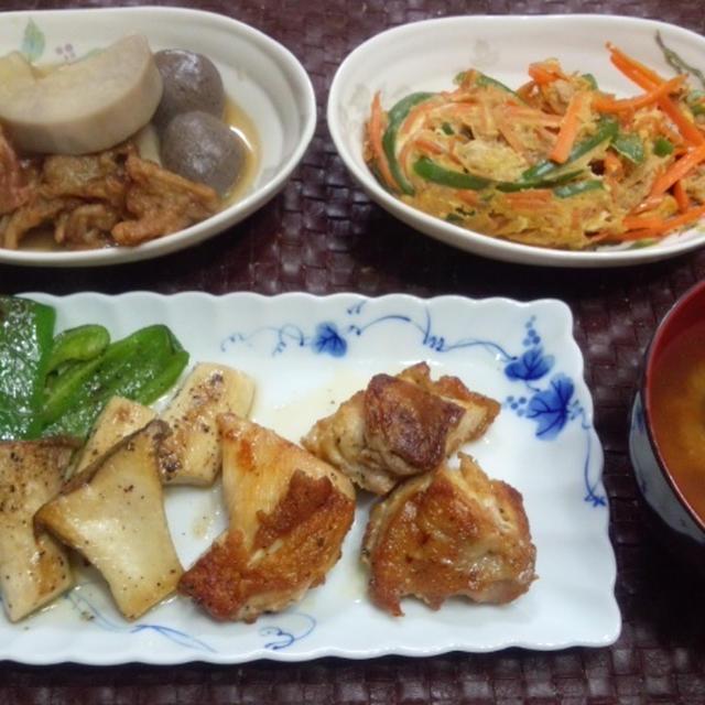 【献立】チキングリル、人参・ピーマン・ツナの卵とじ、京芋と玉こんにゃくのおでん風煮物、カボチャ味噌汁