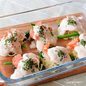 魚介と野菜のホワイトソースがけ♪