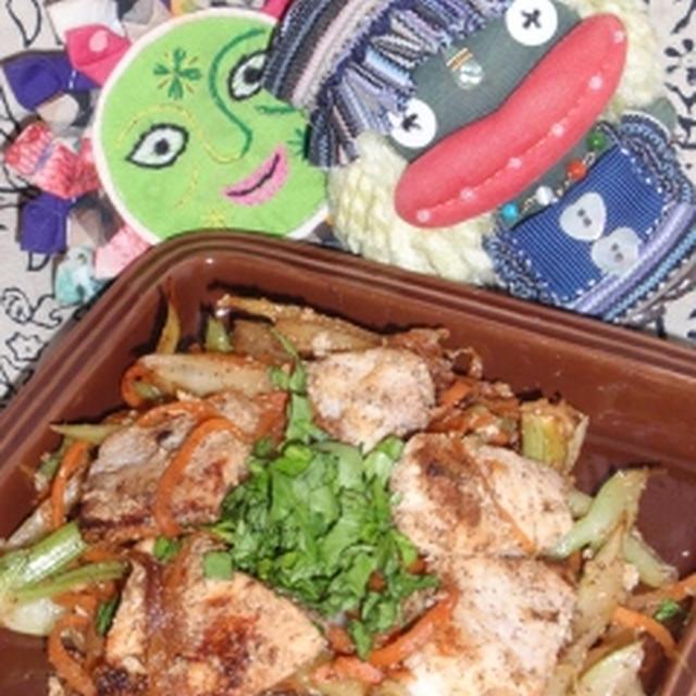 メカジキとセロリの塩麹焼き&白菜と林檎の塩麹サラダ(お家カフェ)