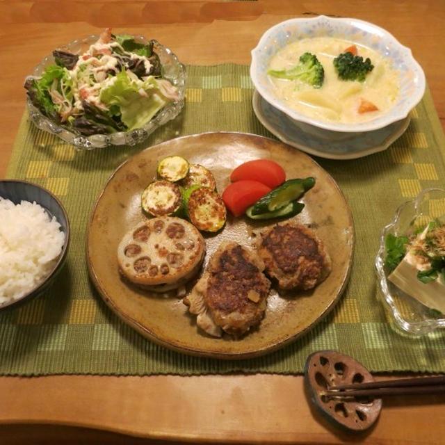 自家製しいたけで しいたけバーグの晩ご飯♪