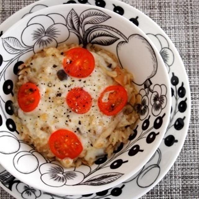 アホスープの素で〜茸とひき肉の焼きリゾット風〜