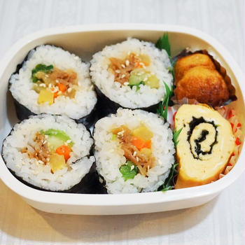 キンパ弁当/My Homemade Boxed Lunch, Gimbap Bento/ข้าวกล่องเบนโตะสำหรับสามี