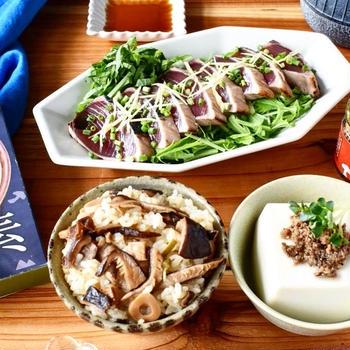 お昼ごはんは【山ご飯の素で炊き込みご飯定食】熊本県水上村のおいしいもの♪