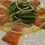 トラウトサーモンと水菜のカルパッチョ