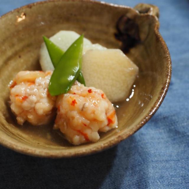 麦塩麴のエビ団子と長芋のあんかけ。