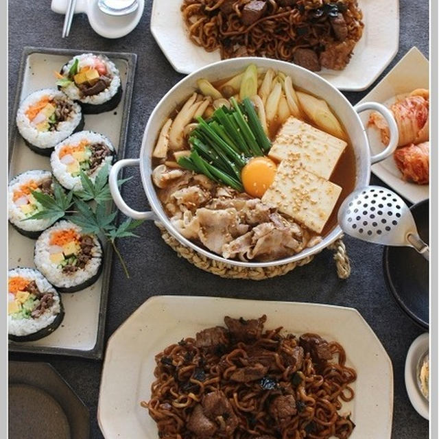キムチチゲ!と、チャパグリ!で、おうち韓国料理♪