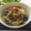 キムチの素で♪ニンニク香る!牛肉の韓国風スープ