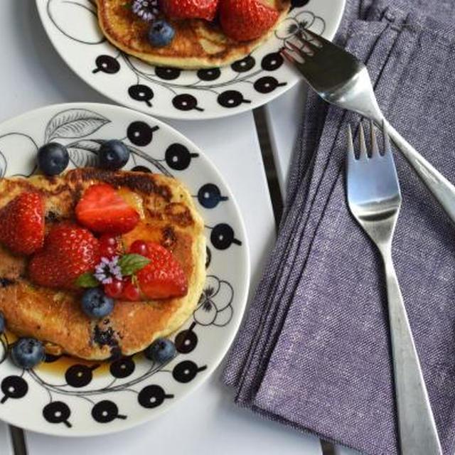 ★レシピ★ Ricottaostpannekake med blåbær(ブルーベリー入りリコッタパンケーキ)