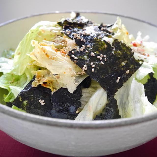 時短レシピ☆ しかも、即完売♪~レタスと韓国海苔のサラダ